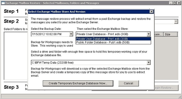 Backup for Workgroups :: How To Restore Individual Exchange Server