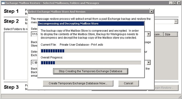 Backup for Workgroups :: How To Restore Individual Exchange