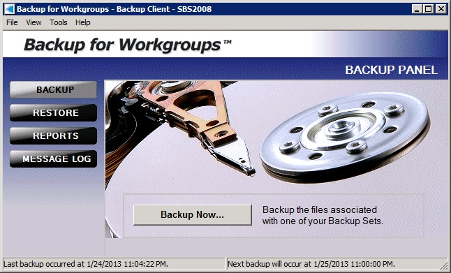 Click to view Backup for Workgroups 6.0.3 screenshot